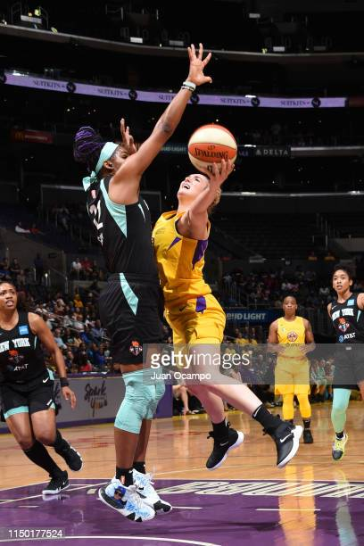 Marina Mabrey of the Los Angeles Sparks drives to the basket for shot against the New York Liberty on June 15 2019 at the Staples Center in Los...