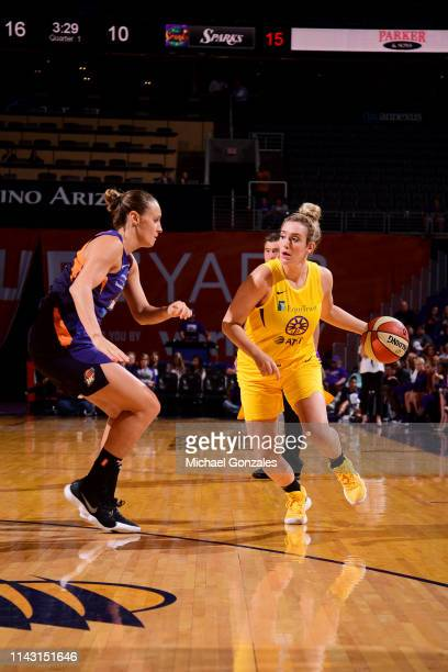 Marina Mabrey of the Los Angeles Sparks handles the ball against the Phoenix Mercury during a preseason game on May 11 2019 at the Talking Stick...