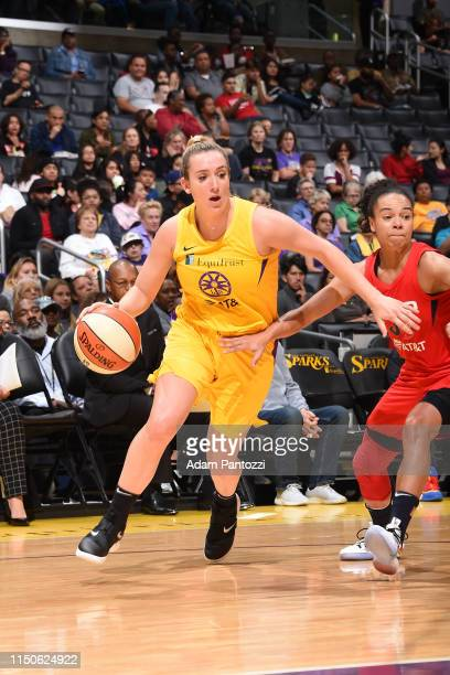 Marina Mabrey of the Los Angeles Sparks handles the ball against the Washington Mystics on June 18 2019 at the Staples Center in Los Angeles...