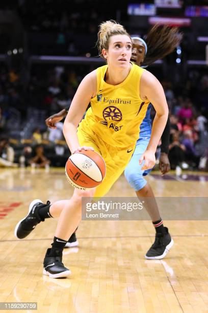 Marina Mabrey of the Los Angeles Sparks handles the ball against the Chicago Sky during a WNBA basketball game at Staples Center on June 30 2019 in...