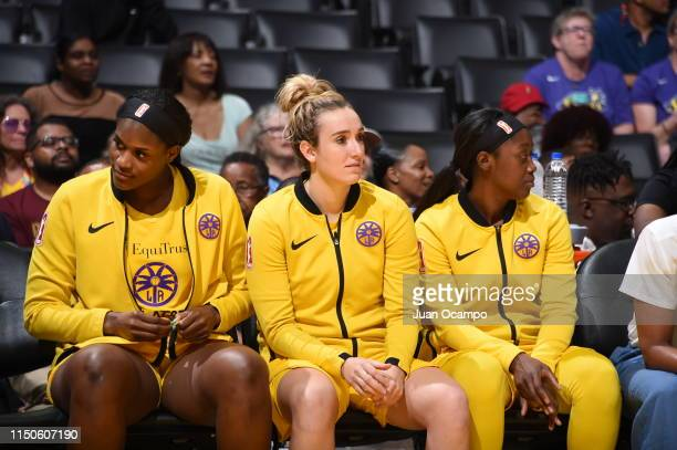 Marina Mabrey of the Los Angeles Sparks looks on during the game against the New York Liberty on June 15 2019 at the STAPLES Center in Los Angeles...