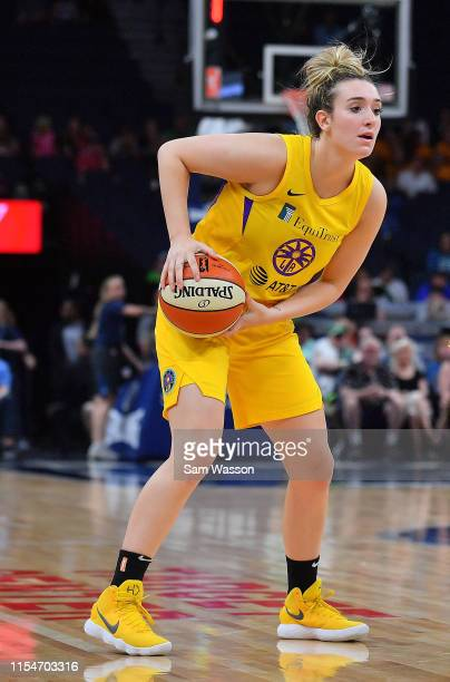 Marina Mabrey of the Los Angeles Sparks looks to pass against the Minnesota Lynx during their game at Target Center on June 08 2019 in Minneapolis...
