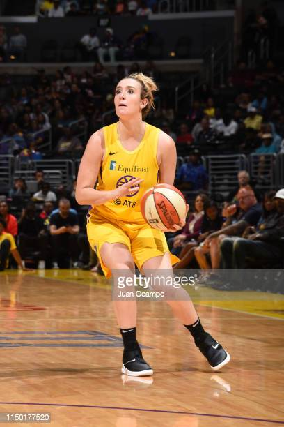 Marina Mabrey of the Los Angeles Sparks looks to shoot three point basket against the New York Liberty on June 15 2019 at the Staples Center in Los...