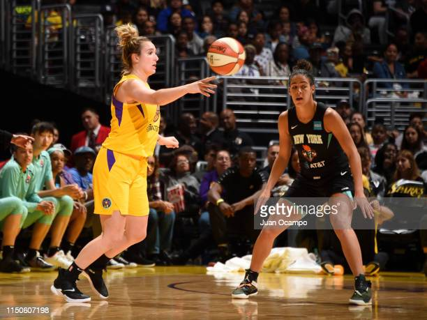 Marina Mabrey of the Los Angeles Sparks passes the ball against the New York Liberty on June 15 2019 at the STAPLES Center in Los Angeles California...