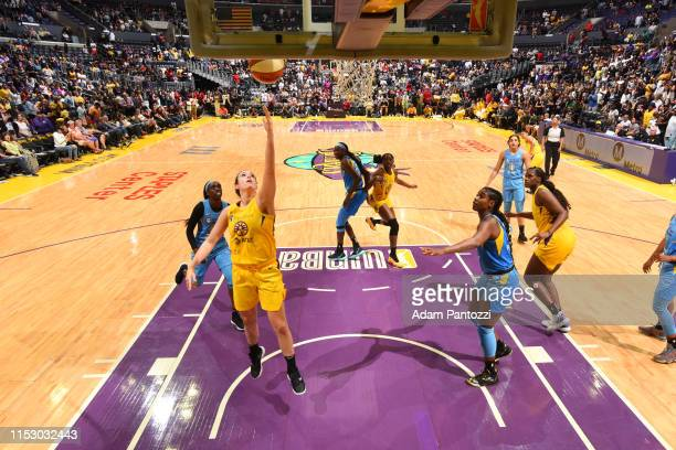 Marina Mabrey of the Los Angeles Sparks shoots the ball against the Chicago Sky on June 30 2019 at the Staples Center in Los Angeles California NOTE...