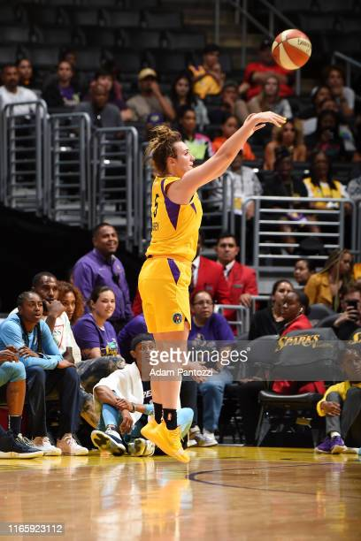 Marina Mabrey of the Los Angeles Sparks shoots the ball against the Atlanta Dreamon September 3 2019 at the Staples Center in Los Angeles California...