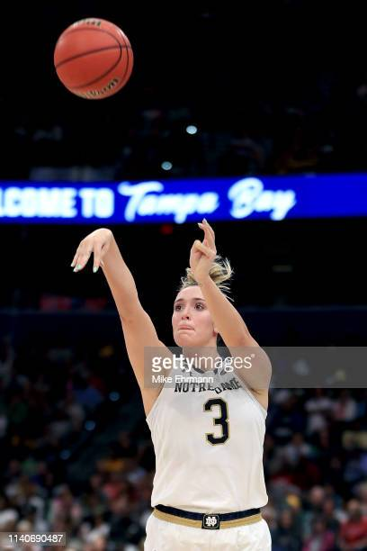 Marina Mabrey of the Notre Dame Fighting Irish attempts a jump shot against the UConn Huskies during the first quarter in the semifinals of the 2019...