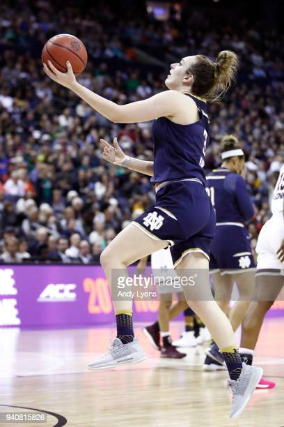 Marina Mabrey of the Notre Dame Fighting Irish attempts a shot against the Mississippi State Lady Bulldogs during the fourth quarter in the...