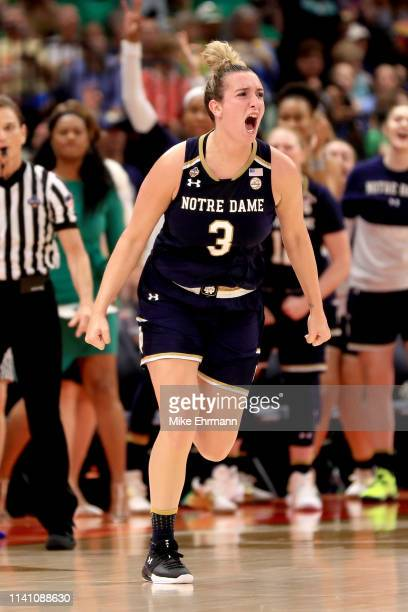Marina Mabrey of the Notre Dame Fighting Irish celebrates her basket against the Baylor Lady Bears during the fourth quarter in the championship game...
