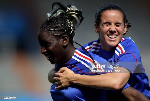 Marina Makanza of France celebrates scoring the first goal with Pauline Crammer during the FIFA U20 Women's World Cup Group A match between Costa...