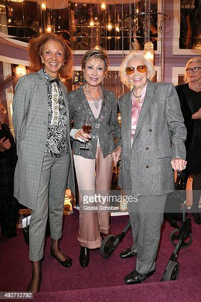 Marina Meggle and her mother Gertrud Ponater and Dr AntjeKatrin Kuehnemann during the Talbot Runhof flagship boutique opening at Preysing Palais on...