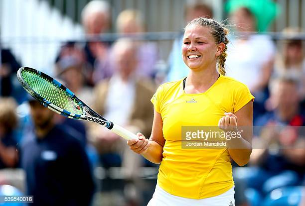 Marina Melnikova of Russia celebrates victory in her Women's Final match against Stephanie Foretz of France during day nine of the Aegon Surbiton...