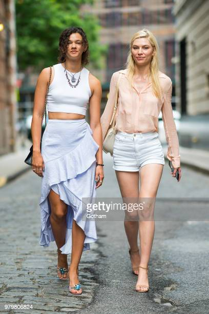 Marina Nery and Aline Weber are seen in Tribeca on June 20 2018 in New York City