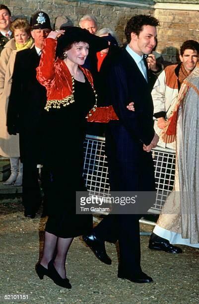 Marina Ogilvy With Her Husband Paul Mowatt On Their Wedding Day At St Andrews Parish Church Ham Common The Bride Has Chosen To Wear A Black Dress...
