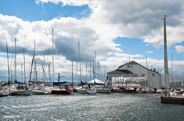 marina on lake ontario - kingston ontario stock photos and pictures