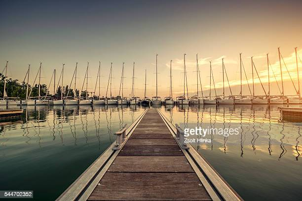 marina on the lake balaton - marina stock pictures, royalty-free photos & images