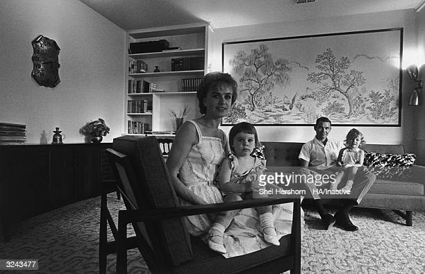 Marina Oswald Porter former wife of Lee Harvey Oswald accused assassin of President John F Kennedy sits in her living room with her second husband...