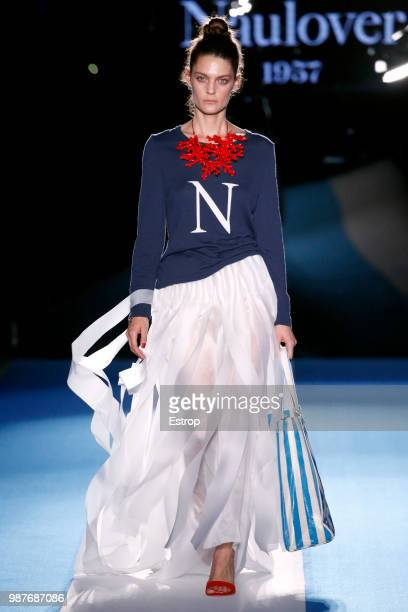Marina Perez walks the runway at the Naulover show during the Barcelona 080 Fashion Week on June 28 2018 in Barcelona Spain