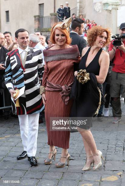 Marina Ripa di Meana and daughter actress Lucrezia Lante Della Rovere arrive at the Valeria Marini and Giovanni Cottone wedding at Ara Coeli on May 5...