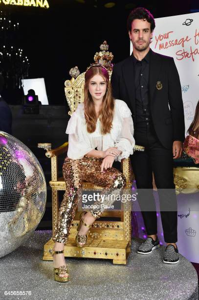 Marina Ruy Barbosa and Alexandre Sarnes Negrao attend the Dolce Gabbana 'Dancing Queen' After Show Party during Milan Fashion Week Fall/Winter...