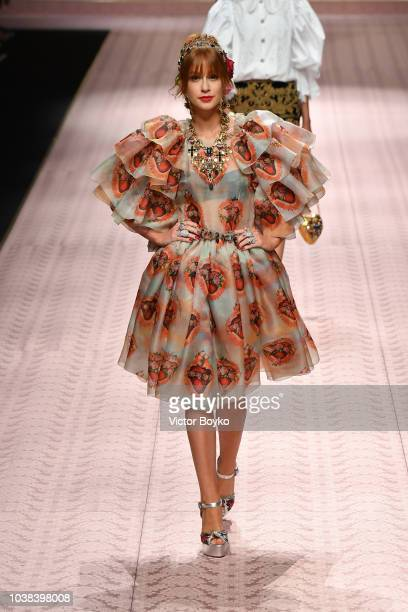 Marina Ruy Barbosa walks the runway at the Dolce Gabbana show during Milan Fashion Week Spring/Summer 2019 on September 23 2018 in Milan Italy
