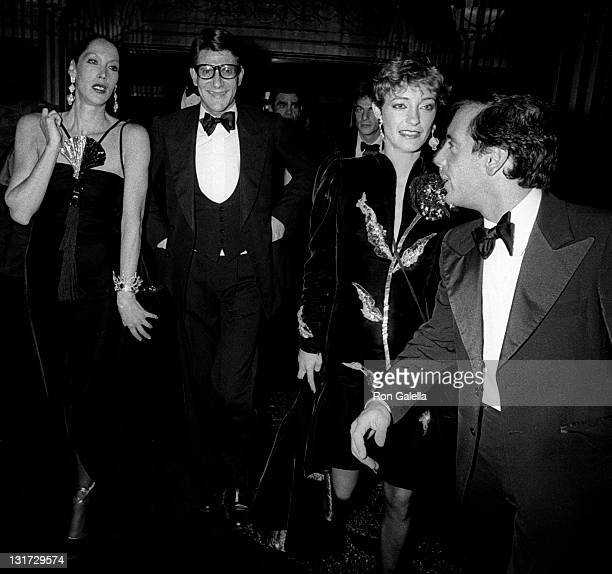 Marina Schiano Yves Saint Laurent Loulou de la Falaise and Steve Rubell attend the party for Opium Perfume Launch on September 20 1978 at Studio 54...