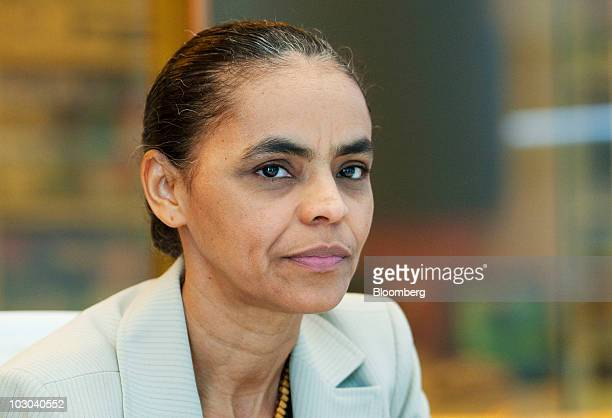 Marina Silva Brazil's former environmental minister and Green Party presidential candidate in Brazil's presidential election pauses during an...