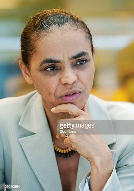 Marina Silva Brazil's former environmental minister and Green Party presidential candidate in Brazil's presidential election speaks during an...