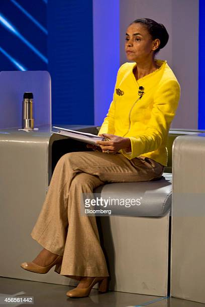 Marina Silva candidate from the Brazilian Socialist Party takes her seat prior to a presidential election debate sponsored by Globo TV in Rio de...