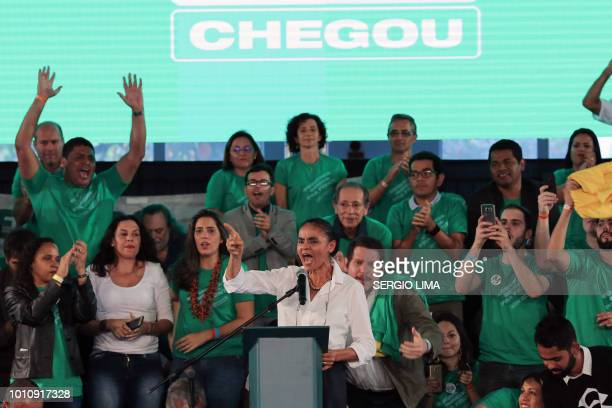Marina Silva delivers a speech during the launching of her candidacy for the presidency of Brazil ahead of October's national election during the...