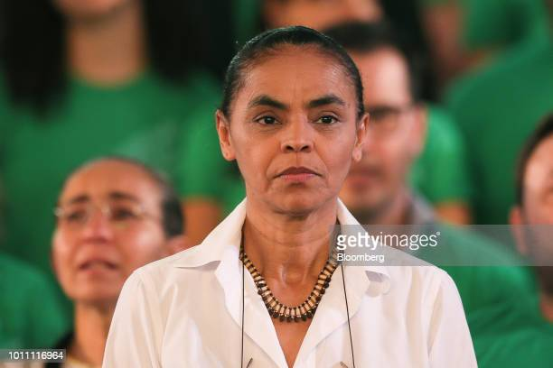 Marina Silva presidential candidate for the Sustainability Network Party attends the party's national convention at Minas Hall in Brasilia Brazil on...