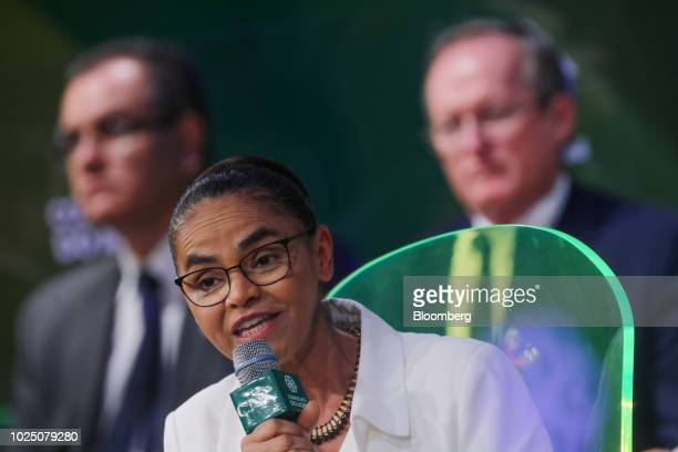 Marina Silva presidential candidate for the Sustainability Network Party speaks during an event at the National Agricultural Confederation in...