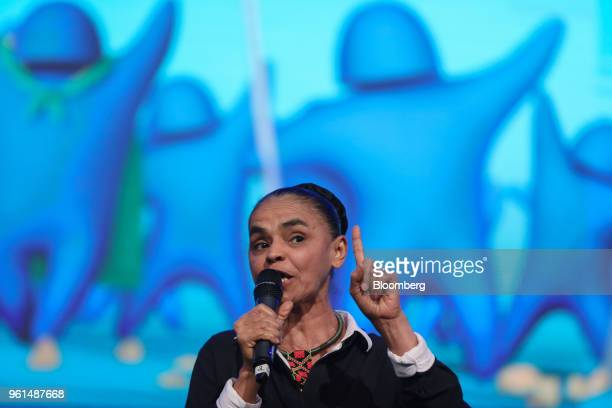 Marina Silva presidential candidate for the Sustainability Network Party speaks during a National Confederation of Municipalities event at the...