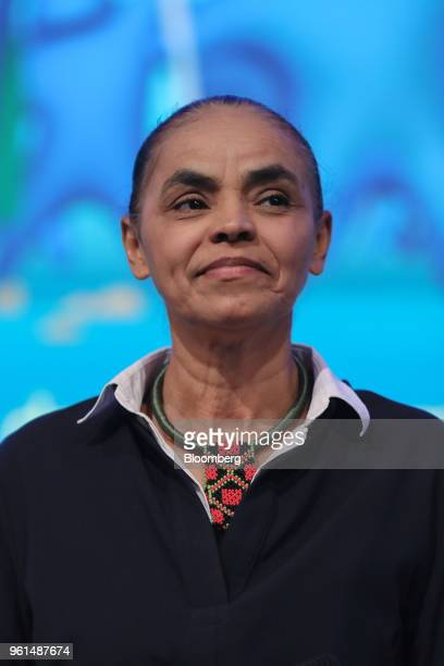 Marina Silva presidential candidate for the Sustainability Network Party smiles during a National Confederation of Municipalities event at the...