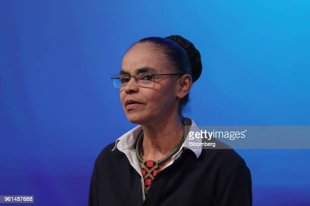 Marina Silva presidential candidate for the Sustainability Network Party listens during a National Confederation of Municipalities event at the...