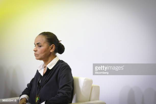Marina Silva presidential candidate for the Sustainability Network Party listens during an interview at a 2018 precandidates event hosted by the...