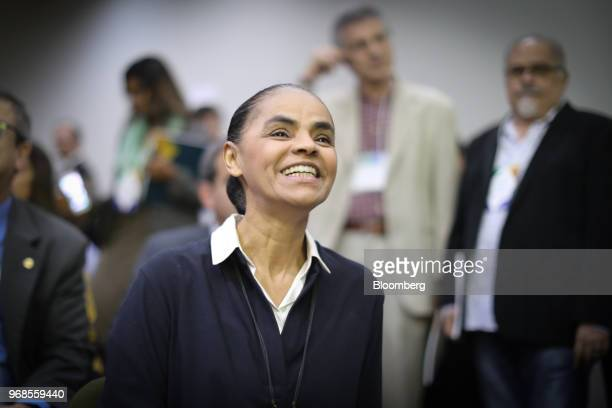 Marina Silva presidential candidate for the Sustainability Network Party smiles before an interview at a 2018 precandidates event hosted by the...