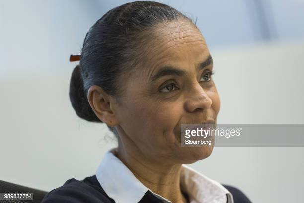 Marina Silva presidential candidate for the Sustainability Network Party listens during an interview in Sao Paulo Brazil on Friday June 29 2018 Silva...