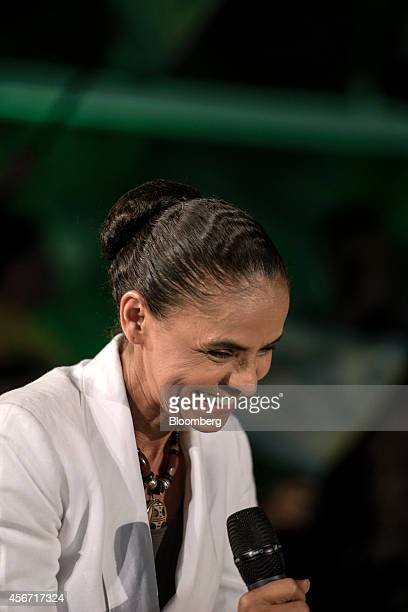 Marina Silva presidential candidate from the Brazilian Socialist Party reacts while speaking to supporters after losing the country's national...