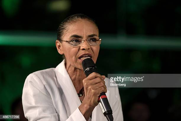 Marina Silva presidential candidate from the Brazilian Socialist Party speaks to supporters after losing the country's national election in Sao Paolo...