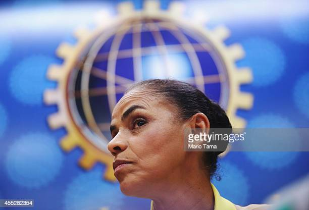 Marina Silva presidential candidate of the Brazilian Socialist Party listens to a question at a press conference before a campaign event at the...