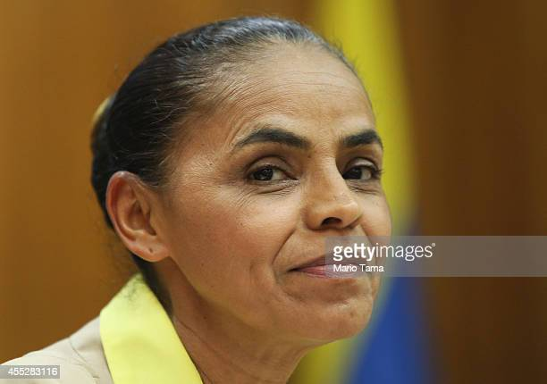 Marina Silva presidential candidate of the Brazilian Socialist Party smiles at a press conference before a campaign event at the Engineering Club on...
