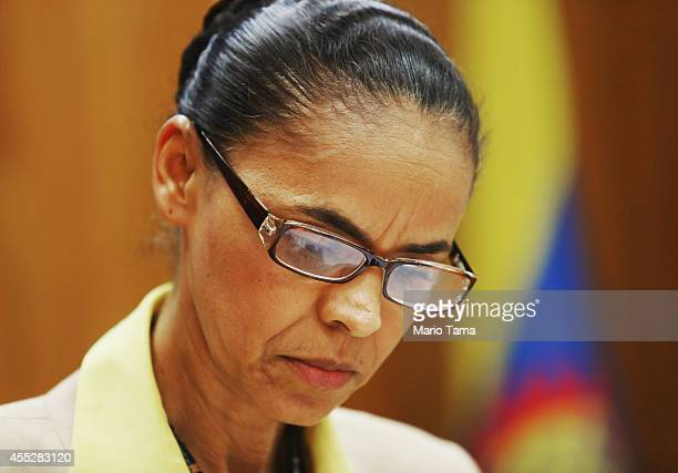 Marina Silva presidential candidate of the Brazilian Socialist Party looks on at a press conference before a campaign event at the Engineering Club...