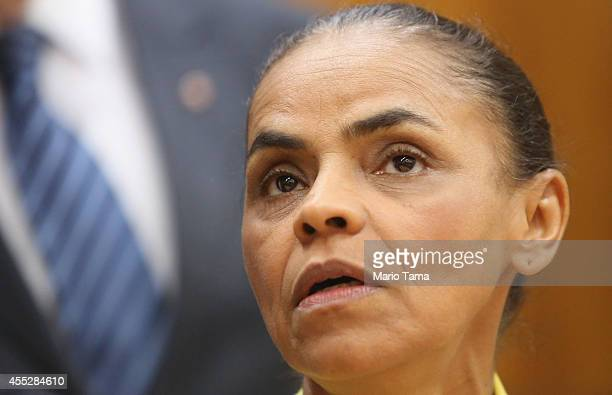 Marina Silva presidential candidate of the Brazilian Socialist Party looks on at a news conference before a campaign event at the Engineering Club on...