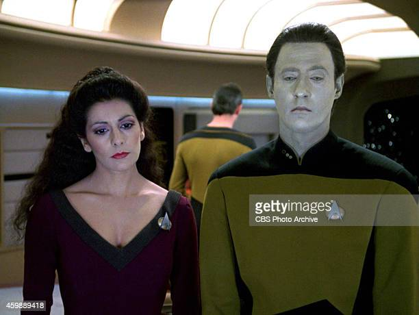 "Marina Sirtis as Counselor Deanna Troi and Brent Spiner as Lt. Commander Data in the STAR TREK: THE NEXT GENERATION episode, ""The Hunted."" Season 3,..."