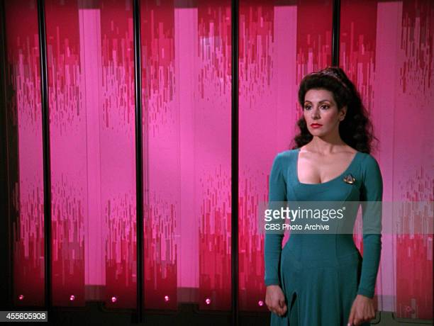 "Marina Sirtis as Counselor Deanna Troi in the STAR TREK: THE NEXT GENERATION episode, ""Hollow Pursuits."" Original air date, April 28, 1990. Season 3,..."