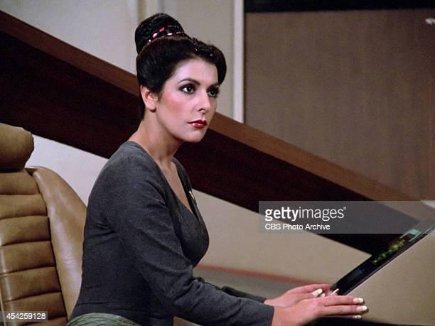 "Marina Sirtis plays Counselor Deanna Troi in the Star Trek: The Next Generation episode, ""The Big Goodbye."" Season 1, episode 11. Original air date..."