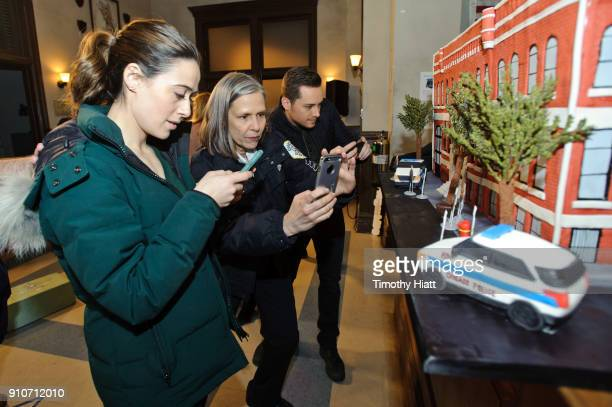 Marina Squerciati Amy Mortonand Jesse Lee Soffer attend the 100th Episode Celebration of 'Chicago PD on January 26 2018 in Chicago Illinois
