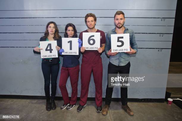 Marina Squerciati Torrey Devitto Nick Gehlfuss and Patrick John Flueger take part in a behindthescenes show and tell at the NBC 'One Chicago' press...