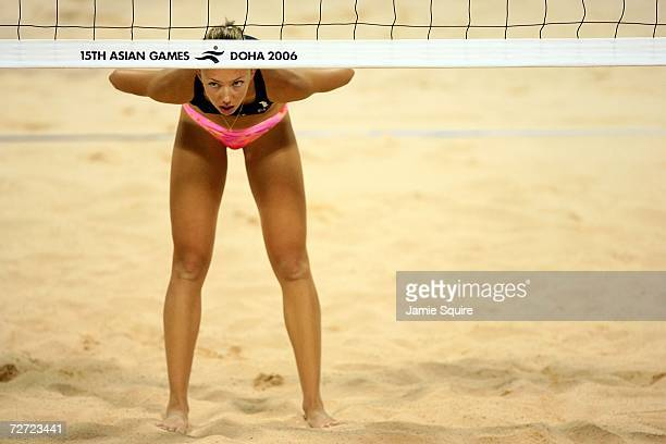 Marina Storozhenko of Kazakhstan waits for a serve during her Women's beach volleyball match against Chiaki Kushuhara and Satoko Urata of Japan at...